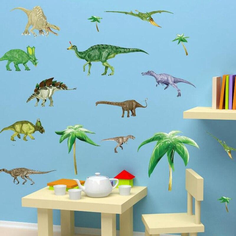Наклейки на стену динозавры, домашний декор для детской комнаты, настенные Стикеры для мальчиков, наклейки для спальни