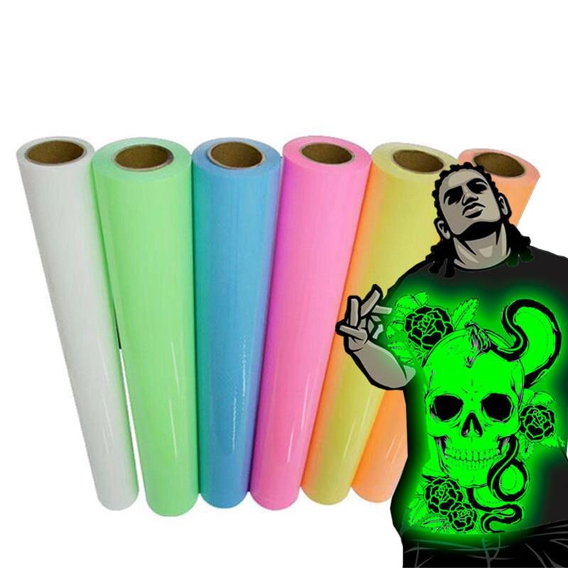 25 см * 25 см цветная светящаяся пленка, теплопередающая пленка, футболка, светящаяся в темное время суток, печатная кроп-цифра, узоры для спортивной одежды