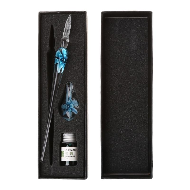 2020 nuevo Vintage arte Hecho A Mano elegante cristal floral pluma de inmersión de vidrio para firmar con tinta plumas regalo