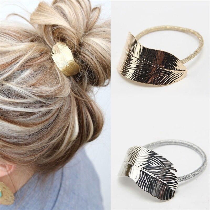 1 pc ouro prata Mulheres Senhora Folha Faixa de Cabelo Cabeça Corda Elástica Rabo de Cavalo Titular Faixa de Cabelo feminino cabelo braider