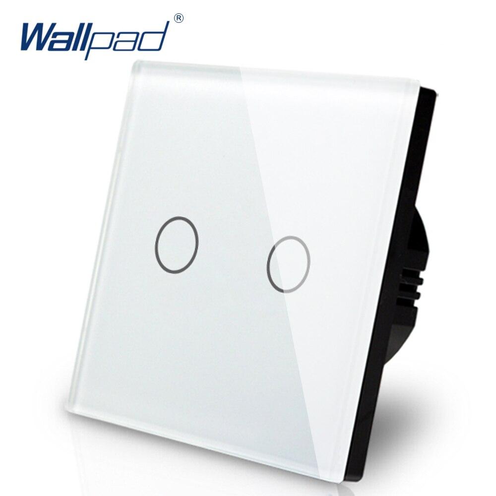 جديد وصول Wallpad الاتحاد الأوروبي المملكة المتحدة 110 V-220 V 2 عصابات 2 طريقة 3 طريقة موقف الأبيض الزجاج لوحة اللمس زر أضواء الجدار التبديل إمدادات ا...