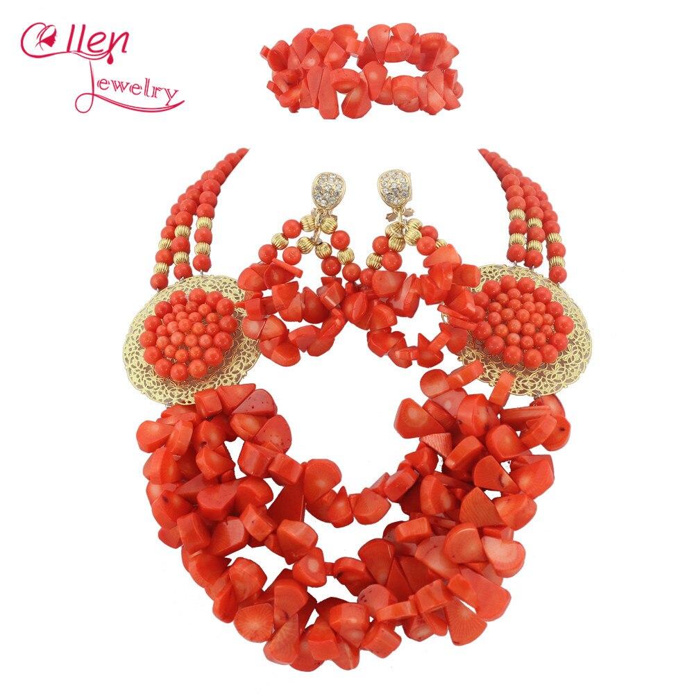 Luxury Nigerian African Wedding Coral Beads Jewelry Set Orange Coral  Jewelry Set Necklace Bracelet Earrings Sets   TL1348