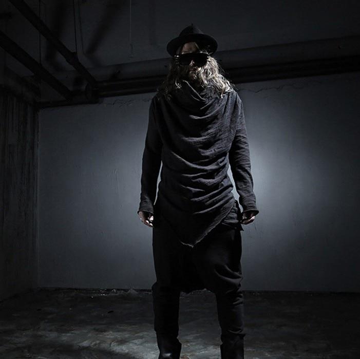 2016 Nueva moda Otoño disfraz para la noche estilo Punk asimetría con capucha camiseta hombres negro casual slim Yarn camisetas, tamaño M-XL