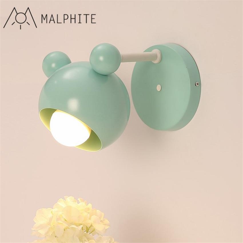Lámpara de pared de dibujos animados con personalidad sencilla, lámpara de pared de cabecera de dormitorio, lámpara creativa de moda para habitación de princesa para niño y niña