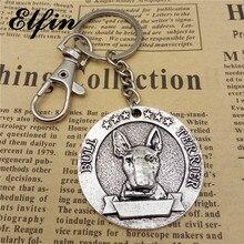 Elfin Vintage taureau Terrier porte-clés Antique argent plaqué Animal taureau Terrier chien porte-clés bijoux pour chien