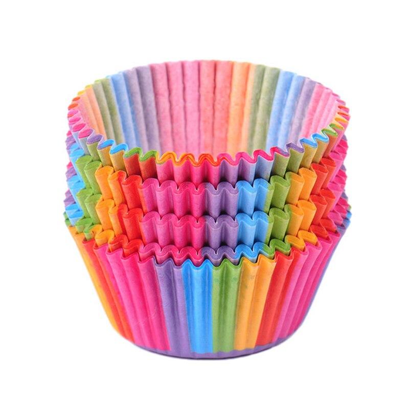 100 Uds Magdalena de arcoíris revestimientos de papel muffins Cases Cup Cake Baking tartas de huevo bandeja de pastelería utensilios de cocina de Decoración Accesorios