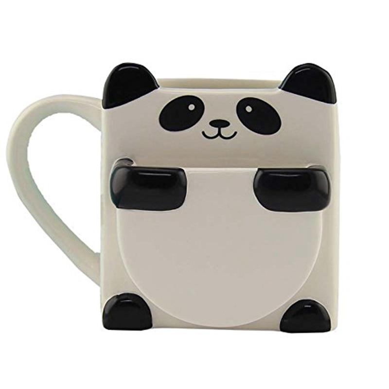 3D мультфильм панда кофейные кружки двойные бисквиты керамические чайные чашки Креативный знак посуда для напитков рождественские подарки
