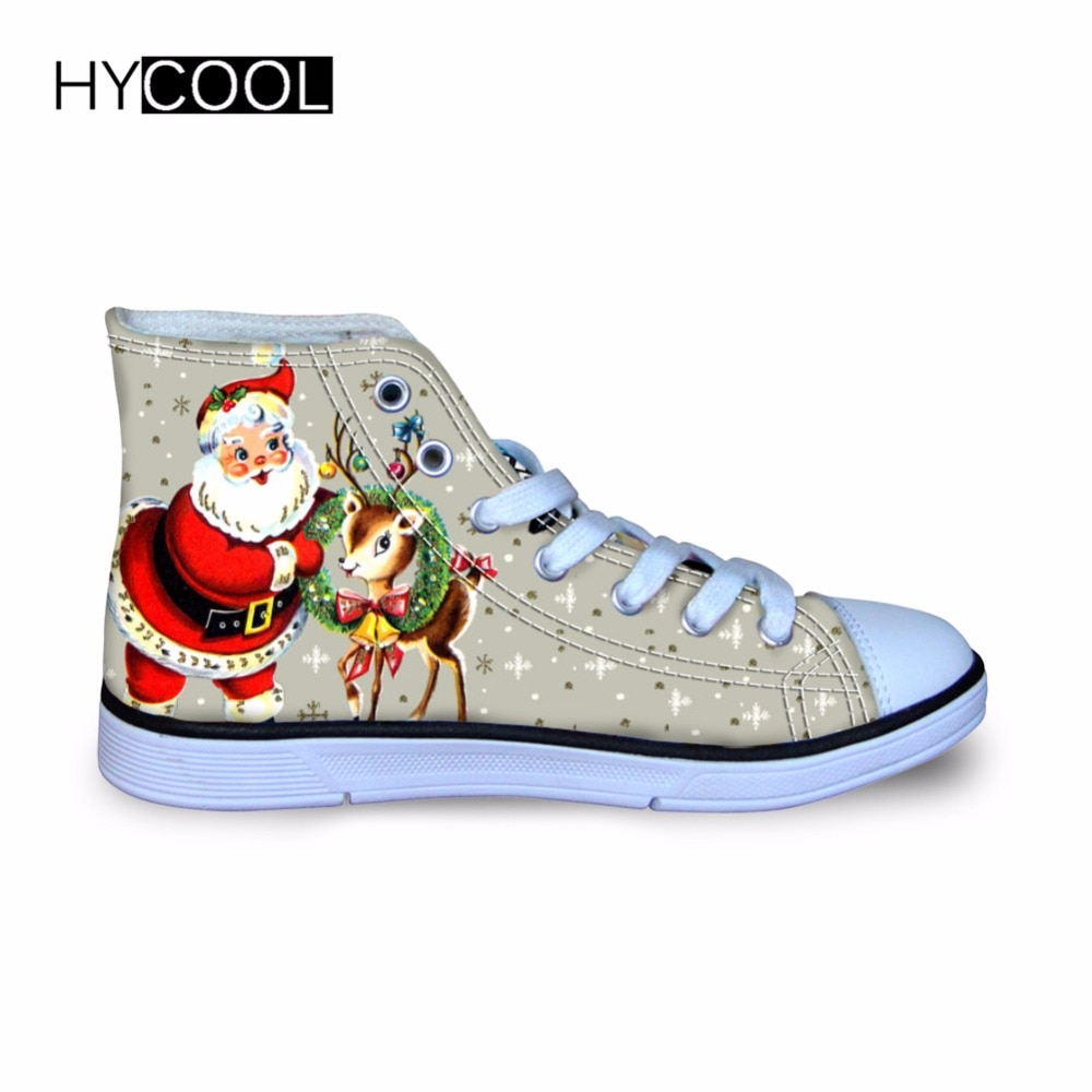 HYCOOL Girls Sport Running Shoes Outdoor Christmas Kids High-Top Canvas Shoes Santa Claus Printed Ch