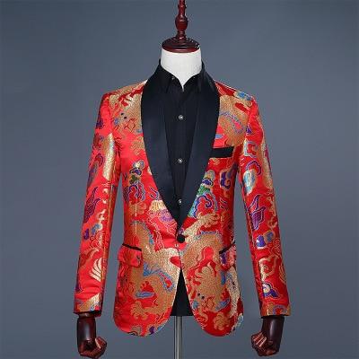 2019 Hombres estilo chino rojo bordado jacquard diseño de dragón Blazer Masculino Slim Fit diseño boda traje chaqueta