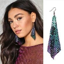 2017 New Arrival 4 Colors Bohemia Free Fall Metallic Stud Earrings Maxi Shiny Stud Earring For Women Punk brincos Wholesale