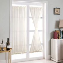 Rideaux de porte français blancs   Porte de Patio et panneau rideau pour intimité (1 pièces, 64x183cm)