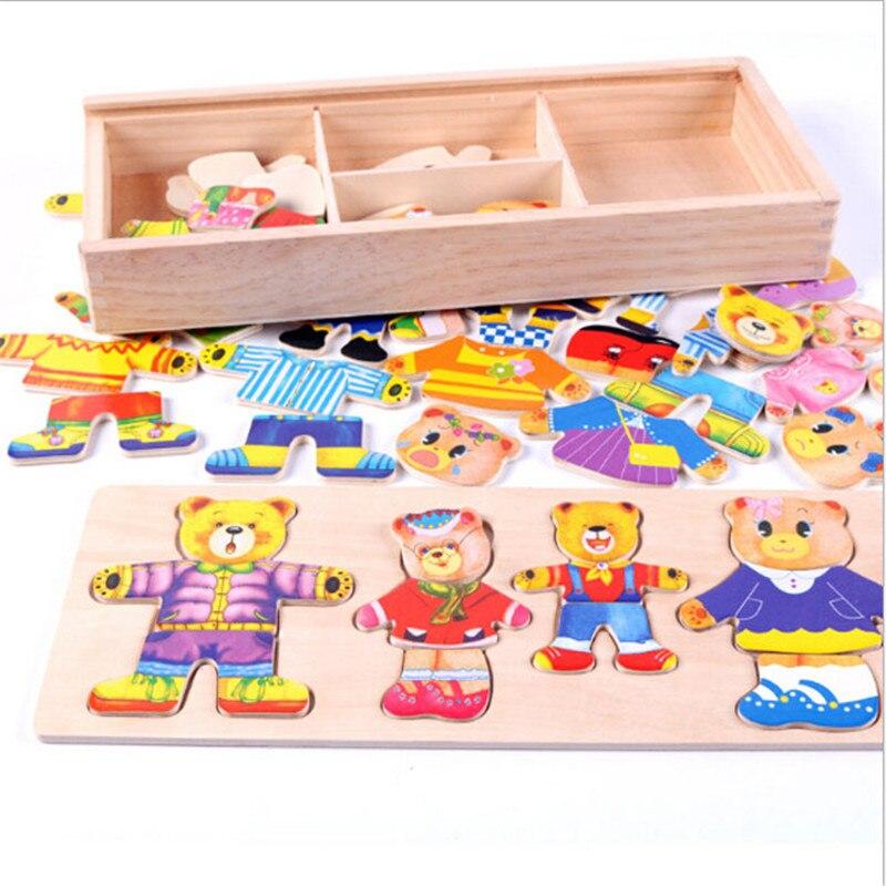 Детские деревянные игрушки, Набор пазлов, детские развивающие игрушки, одежда для переодевания медведя, пазлы, горячая распродажа