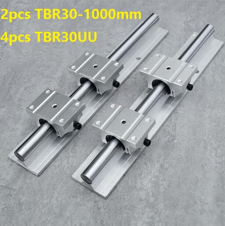 2 قطعة TBR30 -L 1000 مللي متر دعم السكك الحديدية دليل خطي + 4 قطعة TBR30UU الخطي كتل ل CNC خطي السكك الحديدية