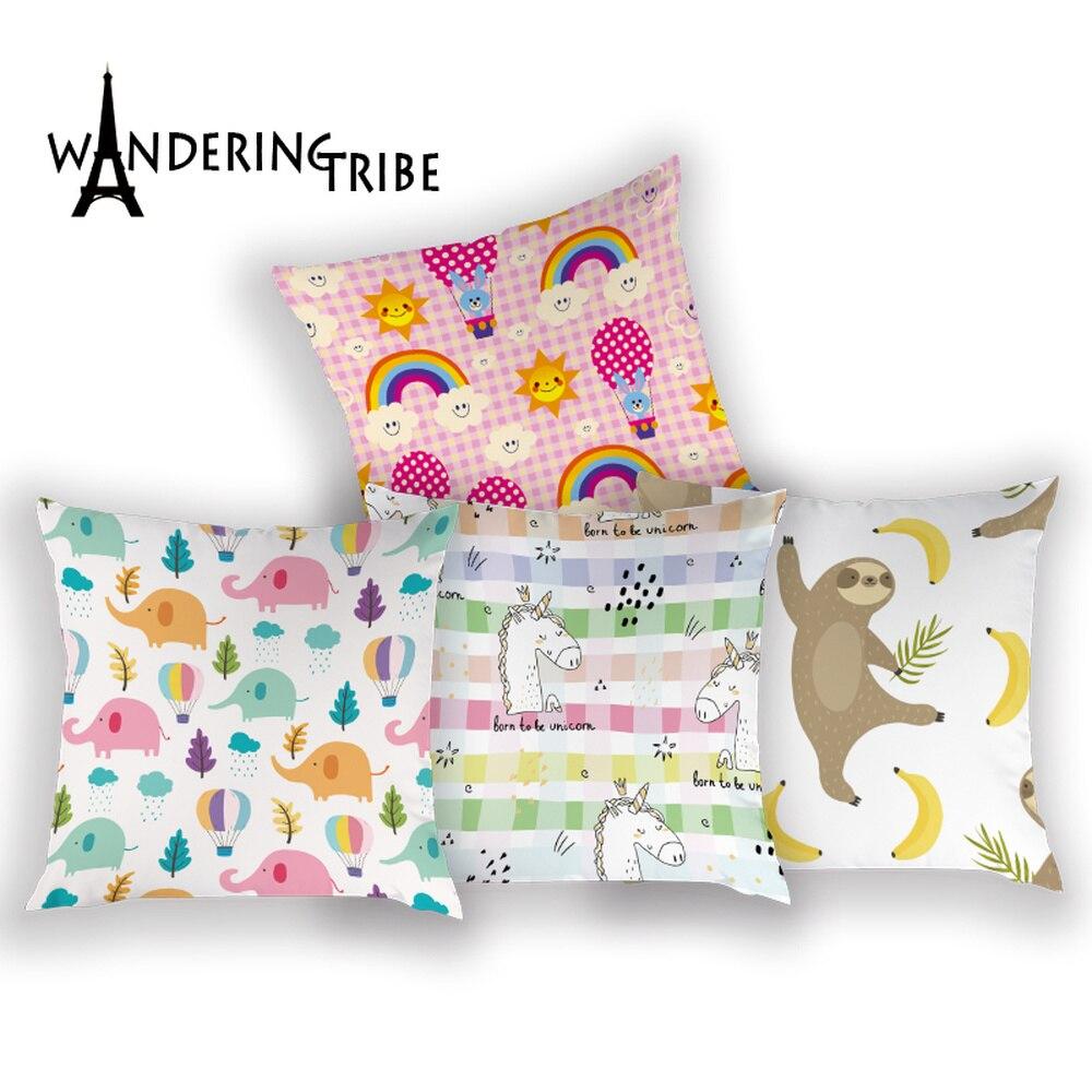 Fronha dos desenhos animados animais bonitos almofada para cadeira crianças travesseiro decorativo elefante puma urso coelho padrão almofadas cobrir