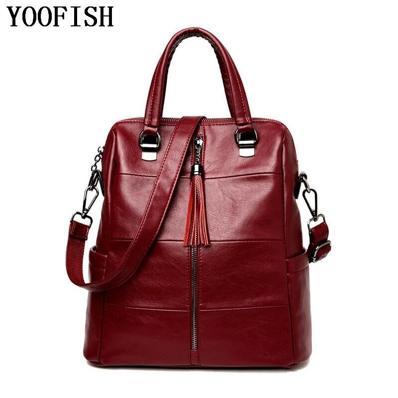 YOOFISH  Fashion Women PU Leather Bag Women Bag Small Women Backpack Mochila Feminina School Bags for Teenagers  LJ-950