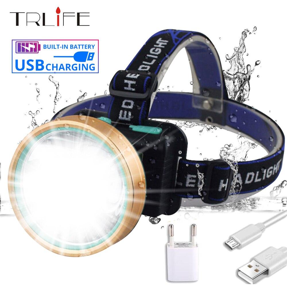 LED Scheinwerfer 20W T6 LED Scheinwerfer Micro USB Aufladbare Eingebaute Kopf Taschenlampe Camping Jagd Angeln Wasserdichte Taschenlampe