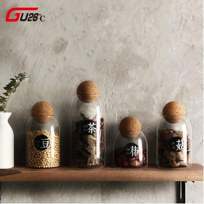 Creative Kitchen botellas transparentes de almacenamiento para productos a granel tarros con tapa especias azúcar té y café contenedor latas organizadoras