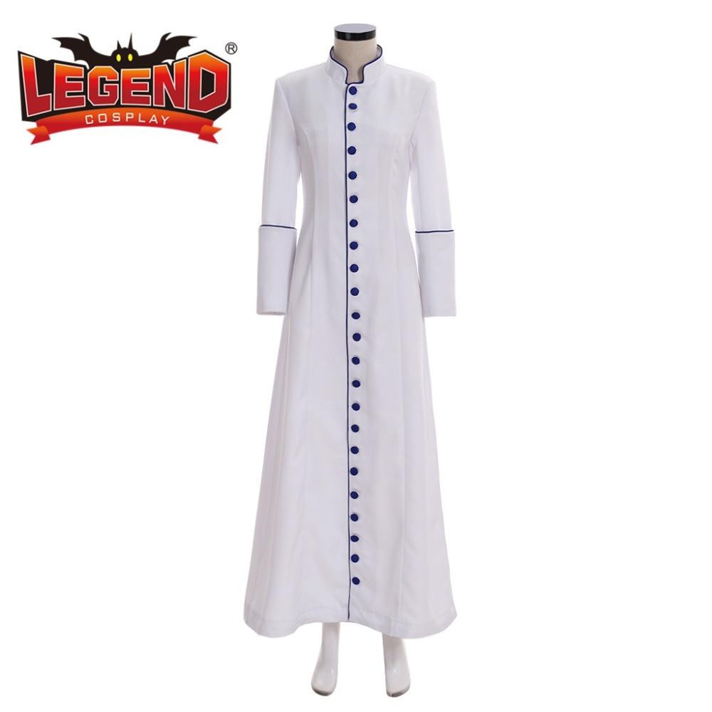 Mujeres romanas sacerdote blanco Cassock Robe Clergyman Vestments Medieval bata ritual