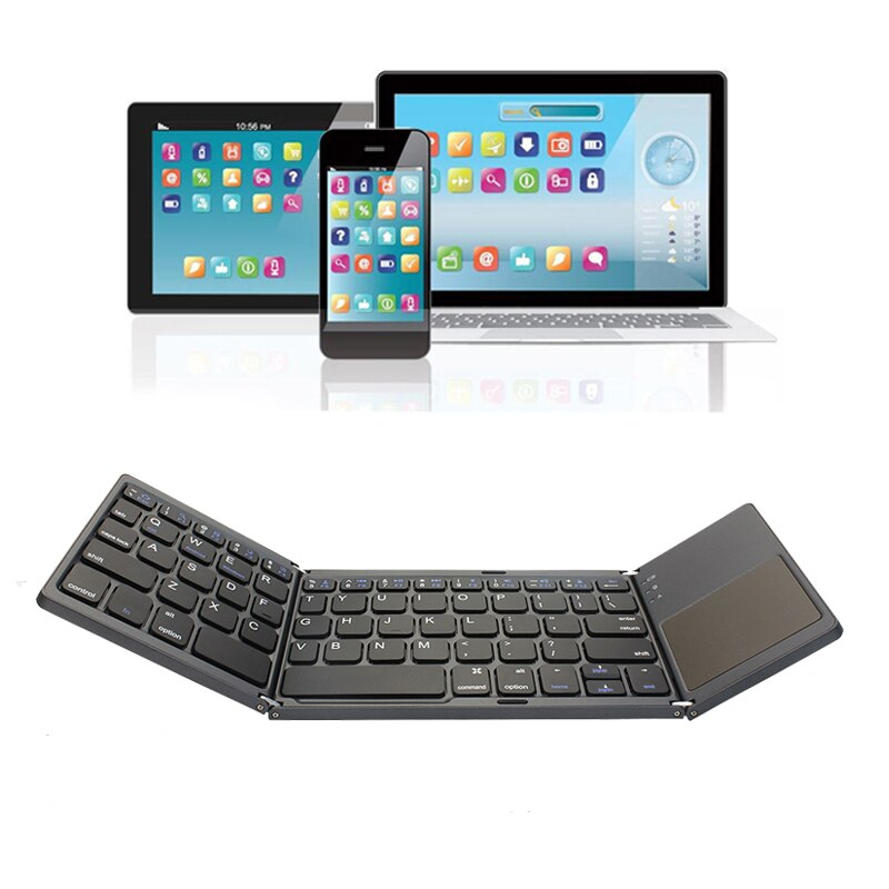 Mini teclado plegable inalámbrico Bluetooth 3,0 ultradelgado BT con teclado táctil para Tablet PC Laptop ipad teléfono móvil