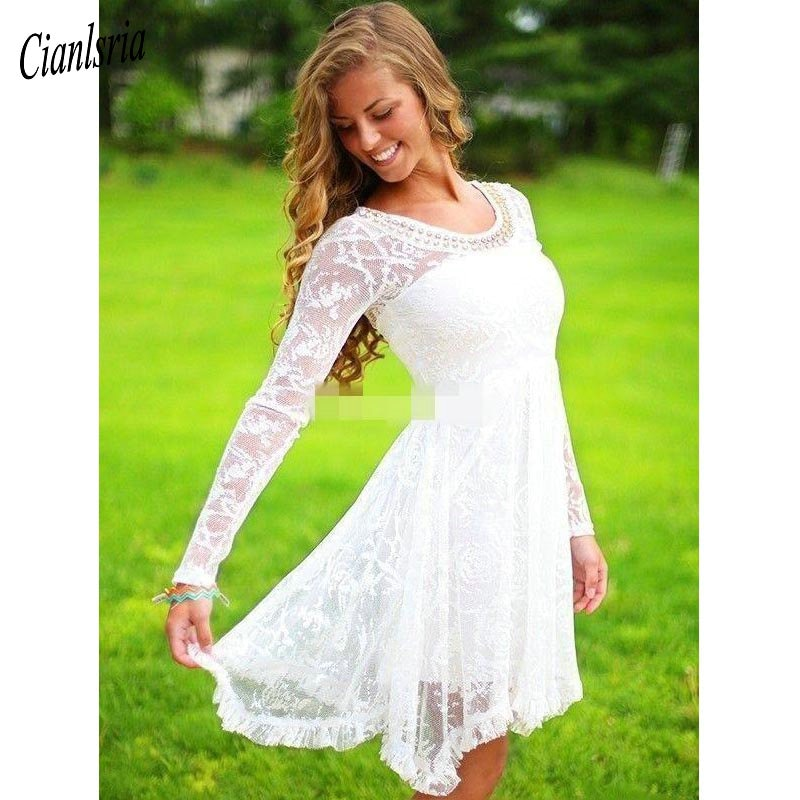 dresses mayoral 10686388 casual dress with short sleeves for girls Short Casual Country Wedding Dresses With Long Sleeves Crystal Neckline Knee Length Full Lace Wedding Gowns Short Beach Dress