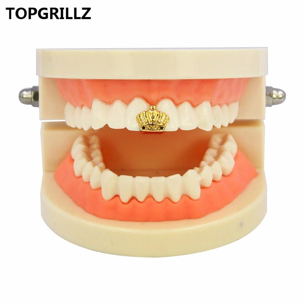 TOPGRILLZ Мужская головка с открытым лицом, золотым покрытием, короной скорпиона, с одиночным зубом, блестящая, блестящая, в стиле хип-хоп