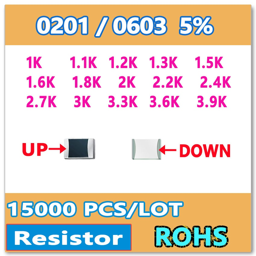Original 0201 J 5%, 15000 Uds 1K 1,1 K 1,2 K 1,3 K 1,5 K 1,6 K 1,8 K 2K 2,2 K 2,4 K 2,7 K 3K 3,3 K 3,6 K 3,9 Ksmd resistencia 0603 1K1 1K2 OHM