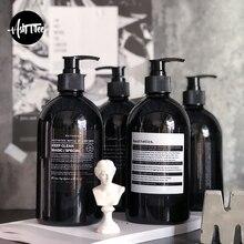 Skandynawski szampon do kąpieli butelka do przechowywania elegancki czarny płyn do mycia ciała butelka Nordic woreczki podróżne organizer na buteleczki Decor 500ml