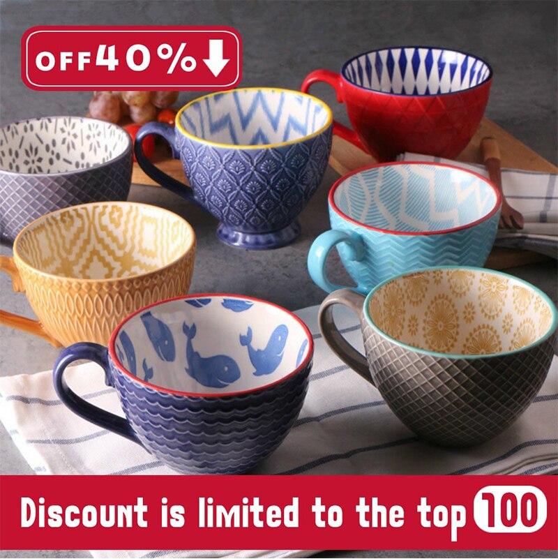 ¡Nueva tendencia 2019! taza de café creativa Retro pintada a mano cerámica barra de café relieve personalidad desayuno taza de leche regalos exquisitos
