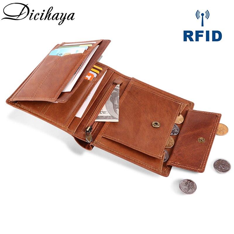Dicihaya marca carteira dos homens de couro real dos homens carteiras bolsa curto masculino embreagem crazy horse carteira de couro dos homens saco de dinheiro moeda