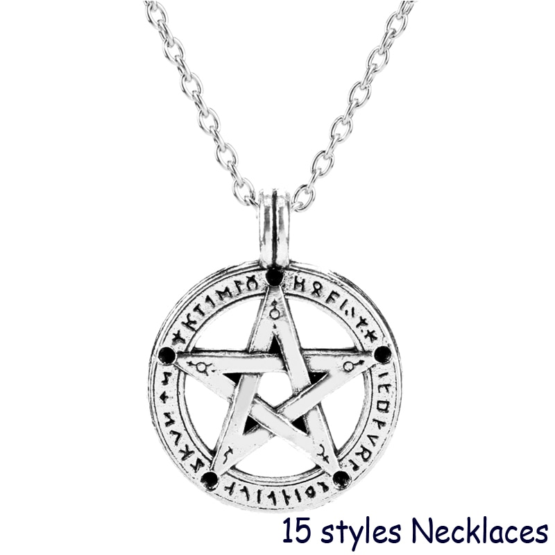 Supernatural Devils Trap Pentagram Pentacle Necklace Castiel Wings Angel Wicca Pendant Necklaces Women Men TV Show Jewelry Gift