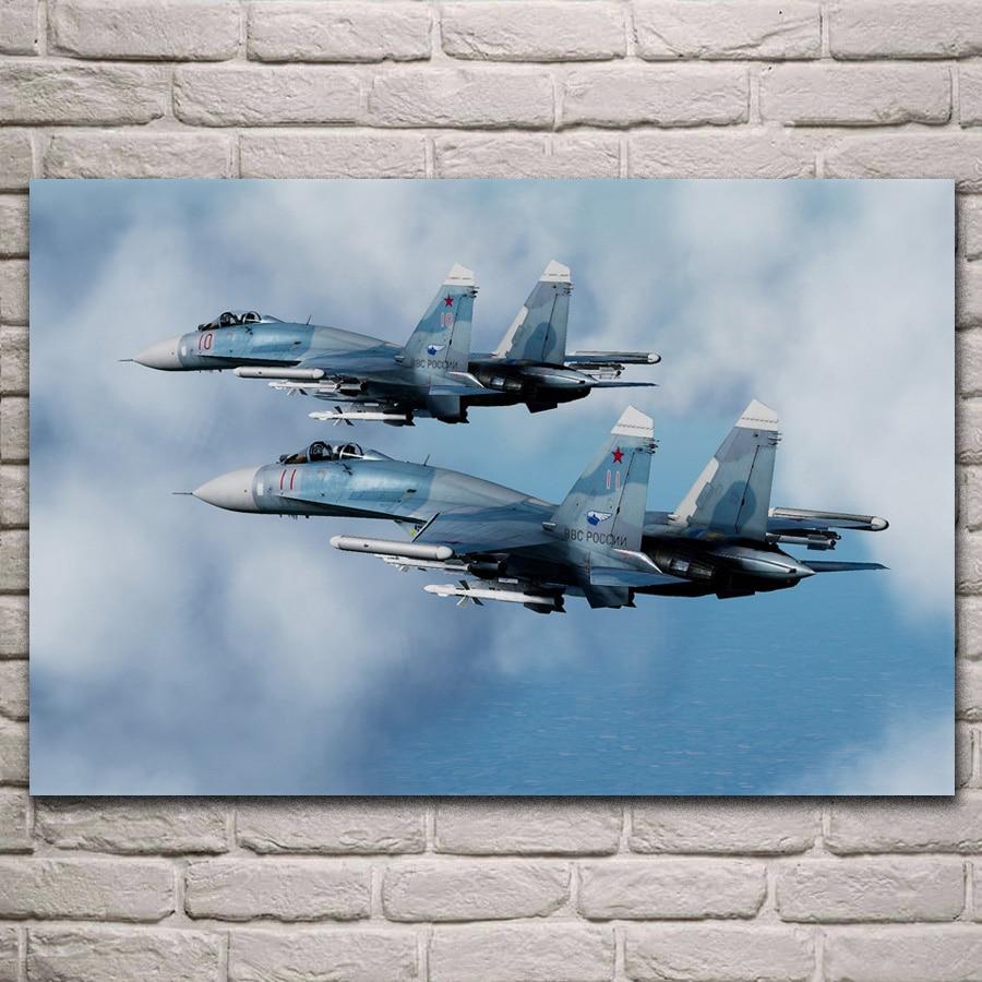 Póster de tela de luchador sukhogo aircraft su 27sm3 flanker fighter para sala de estar, lienzo decorativo para pared del hogar, impresión artística de seda KJ244