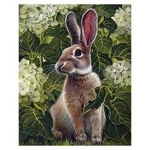 Peinture bricolage diamant dessin animé lapin et fleurs   Point de croix, mosaïque brodée diamant, art mural de maison, artisanat mural, cadeau mural 5d
