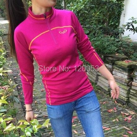 100% australia merino lã camiseta feminina, camisas de lã merino feminino, camisa de primavera de lã feminina, manga longa, com zíper ykk