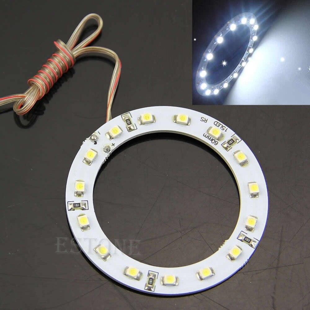 2 uds. Luz blanca brillante de 60mm Ojos de Ángel 15 SMD LED anillo de luz de coche