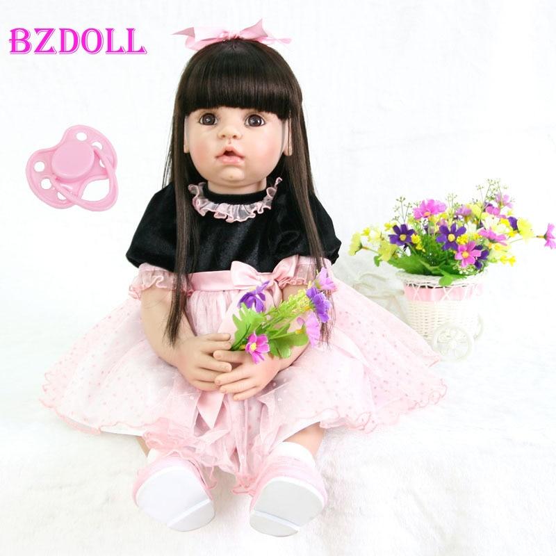 60cm סיליקון Reborn תינוק בובת צעצוע 24 ''ויניל נסיכת פעוט בחיים Bebe גדול תינוקות בובת ילד מתנת יום הולדת ילדה Boneca