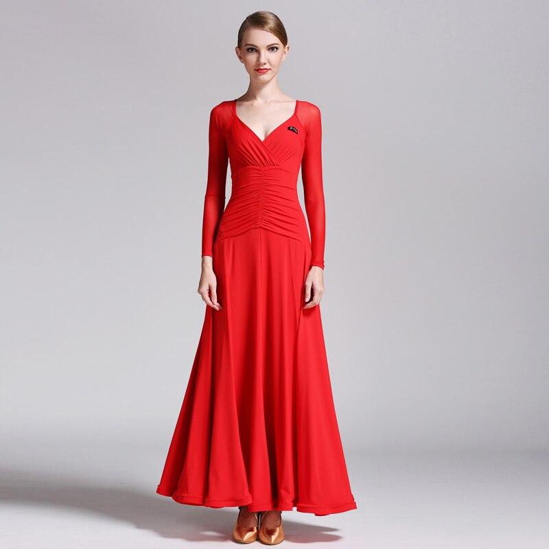 Vestido de baile de salón de seda de leche de manga larga Sexy cuello en V vestidos de Flamenco para baile de salón de baile vals ropa de práctica moderna DN1238
