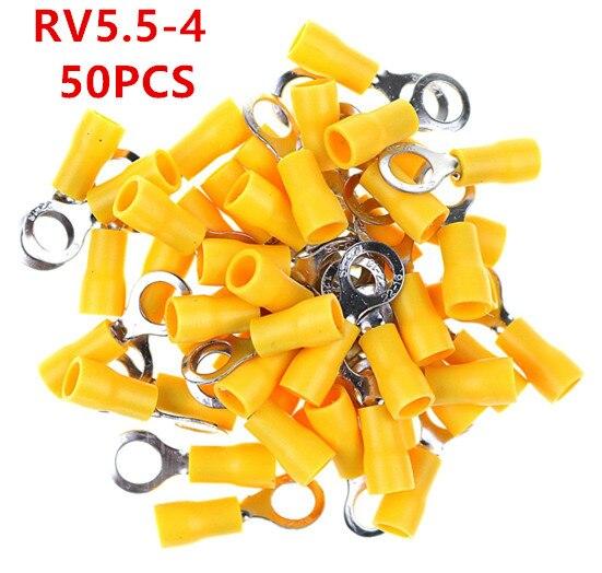 RV5.5-4 anillo amarillo terminal aislado 50 unids/pack cable engarzado Terminal traje 4-6mm2 Cable conector RV5.5-4 RV