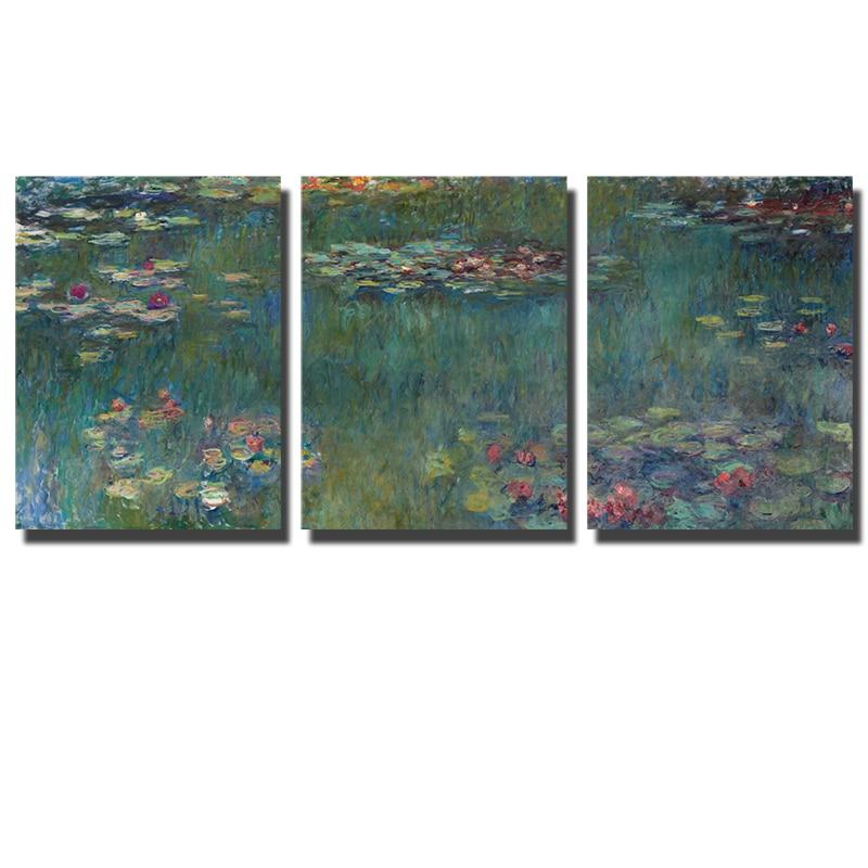 Pintura de lirio de agua famosa de Monet, réplica de estilo impresionista, pósteres de lienzo para pared, 5 paneles, impresiones en lienzo para decoración de dormitorio