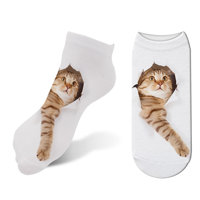 Hot 3D Printed Kawaii Cat Socks Women Animals Cute Cat Low Cut Ankle Socks Casual Cartoon Hosiery Cat Puppy Socks