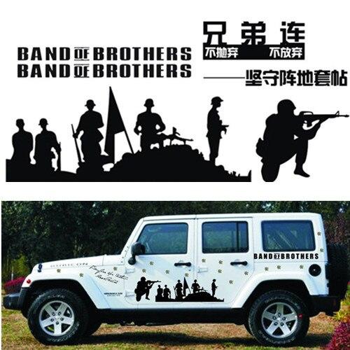 Pegatinas de coche Banda de los hermanos del Ejército de los EE. UU. Guerra de batalla divertidas calcomanías creativas Vinyls Auto Tuning estilo 100 cm 6 unids/set d22