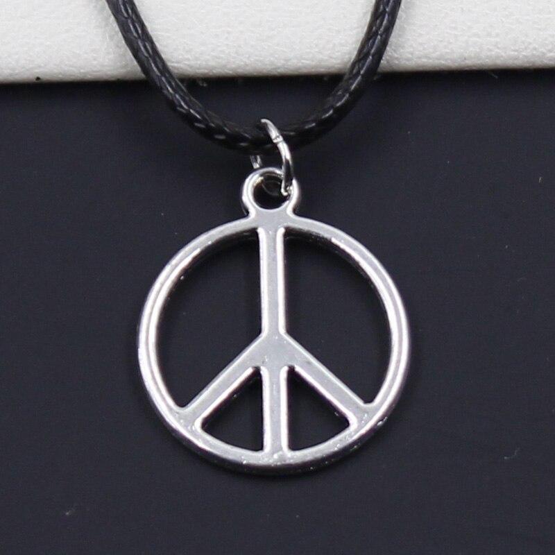Новый Прочный черный искусственный кожаный Знак Мира Символ Кулон шнур Колье DIY Ожерелье Ретро серебряное тибетское в стиле бохо цвет