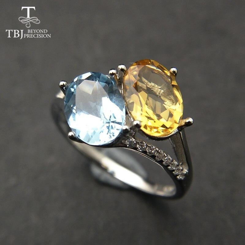 TBJ, два цвета, натуральный драгоценный камень цитрин и Топаз, кольцо из стерлингового серебра 925 пробы, ювелирные украшения, модное кольцо дл...