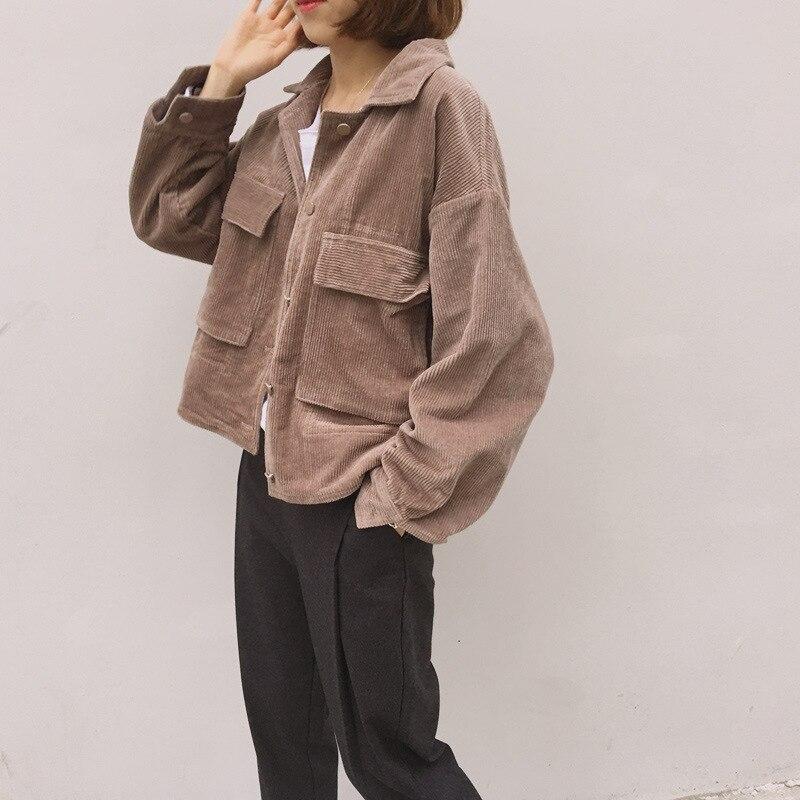 New Corduroy Jackets Women 2021 Long Sleeve Windbreaker Women Coat Spring Casual Short Outerwear Coa