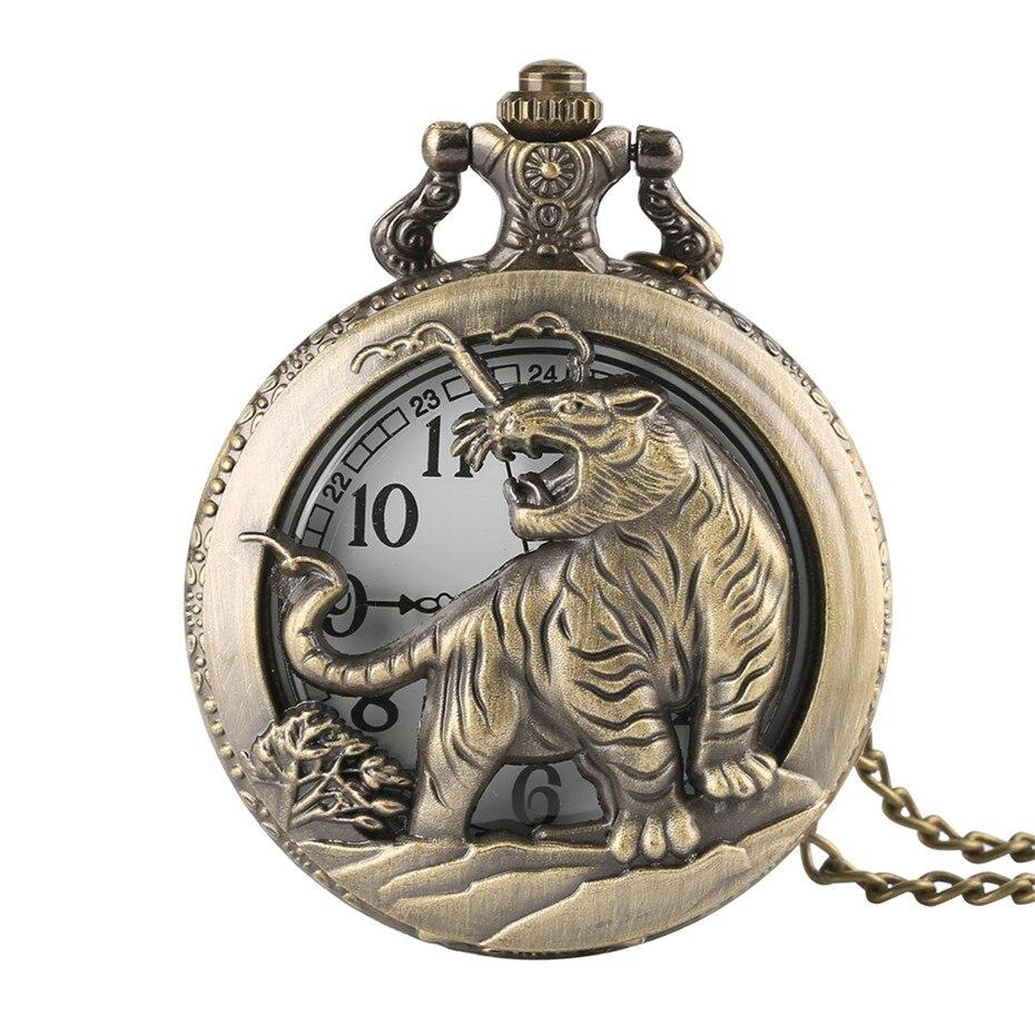 Reloj de bolsillo de cuarzo con hueco de tigre Retro a la moda, collar con colgante para hombres y mujeres, regalo del zodiaco, reloj Fob, reloj de bolsillo