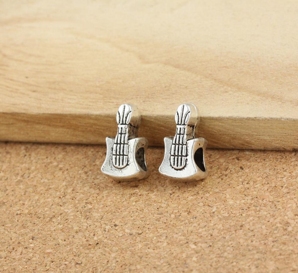 Cuentas espaciadoras de guitarra de plata tibetana de 100 piezas para costura artesanal, joyería, diadema, horquilla, horquilla, bolsa, decoración de zapatos