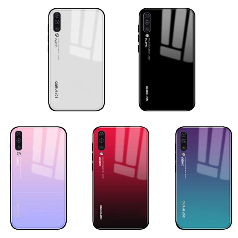 Para Samsung A50 caso de vidrio templado de silicona funda trasera suave TPU Samsung Galaxy A50 A30 A10 M30 M20 M10 50 M30 20 Shell protector