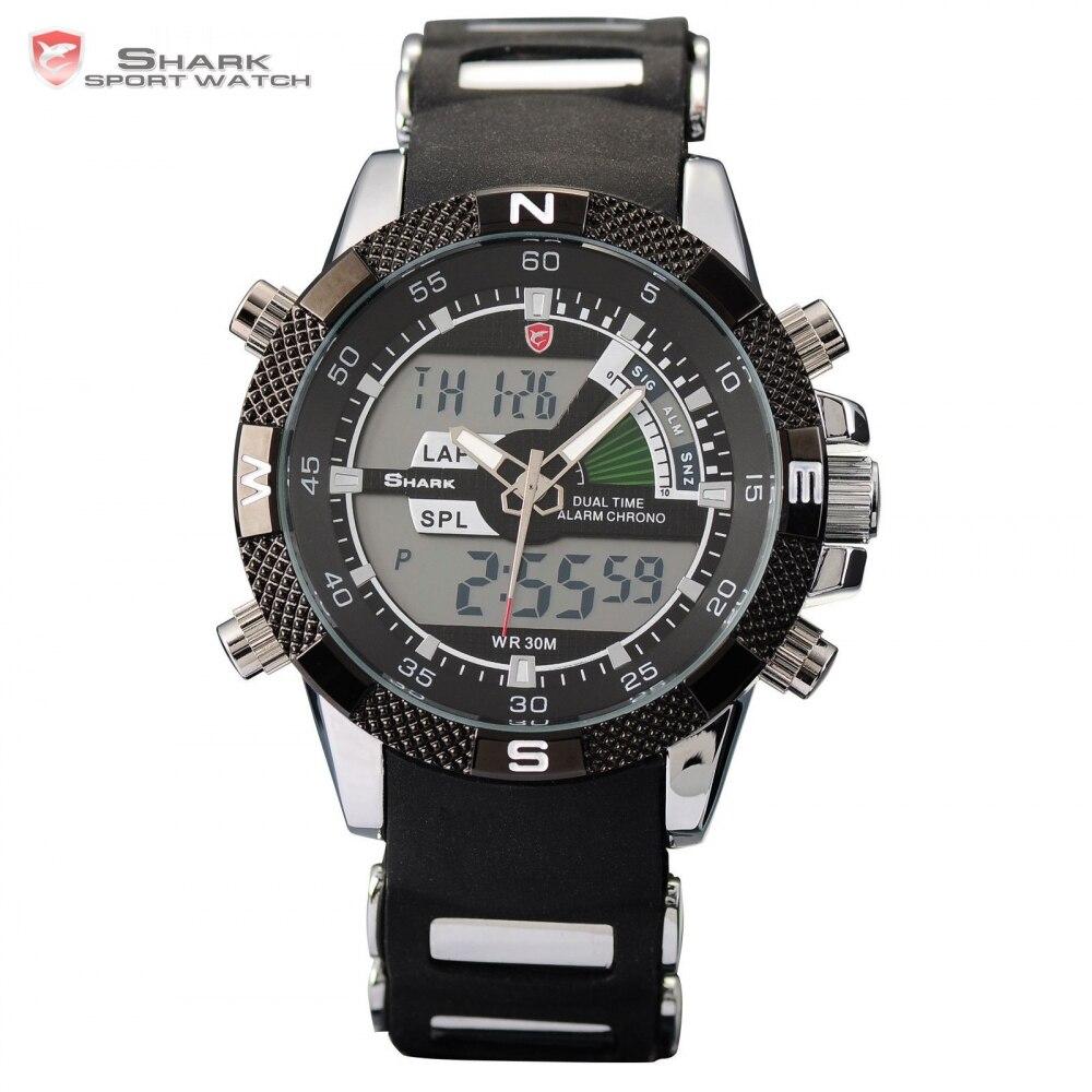 Novo TUBARÃO Relógio Do Esporte Da Marca Dual Time Alarme Cronômetro Silicone Strap Quartzo Preto Relógio Relógio Digital de Quartzo dos homens/SH042