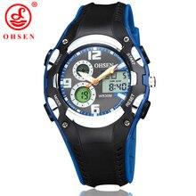 Reloj de pulsera de cuarzo deportivo Digital de marca OHSEN a la moda para niños y niñas, de 30M para natación correa de goma, reloj militar con alarma y fecha de día