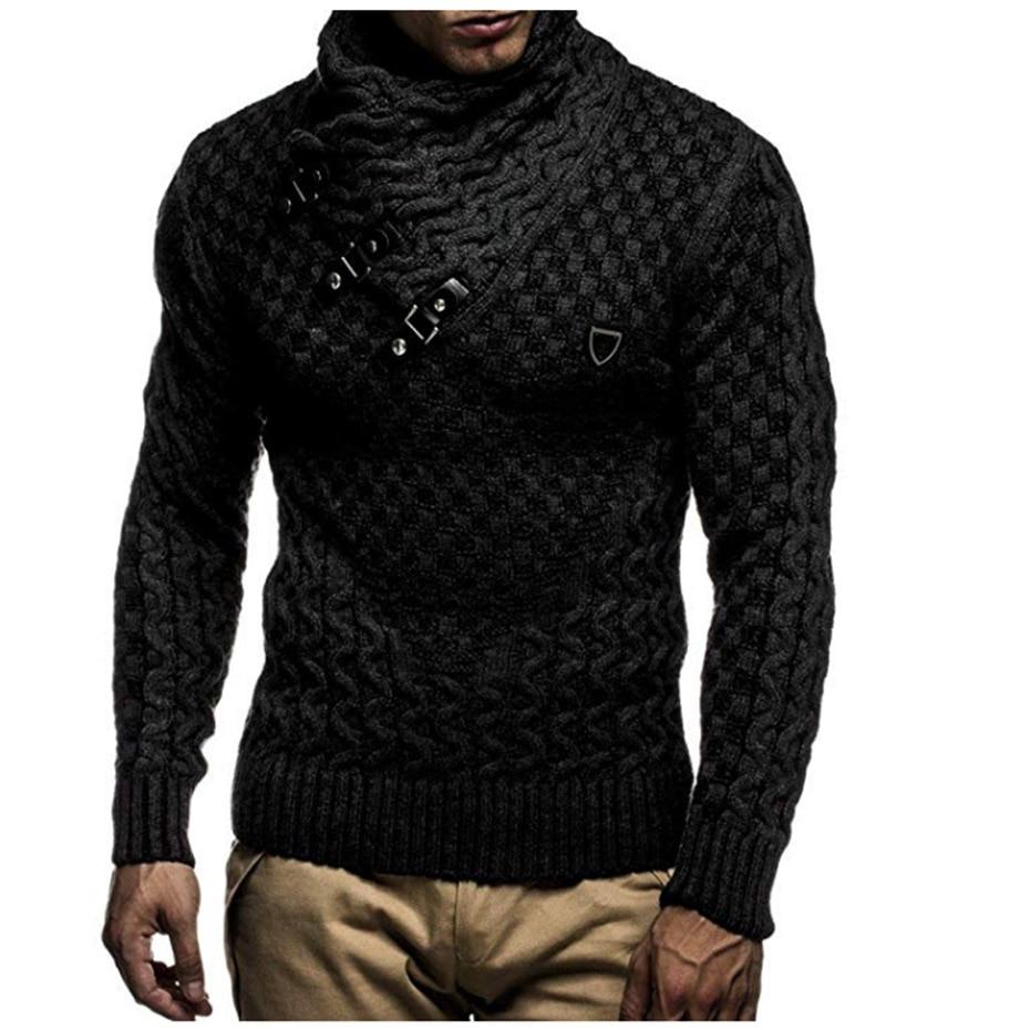 Zogaa, Otoño Invierno 2019, suéter de cuello alto, suéter de solapa alta, suéter Jacquard para hombre, suéter de punto informal entallado de Color sólido