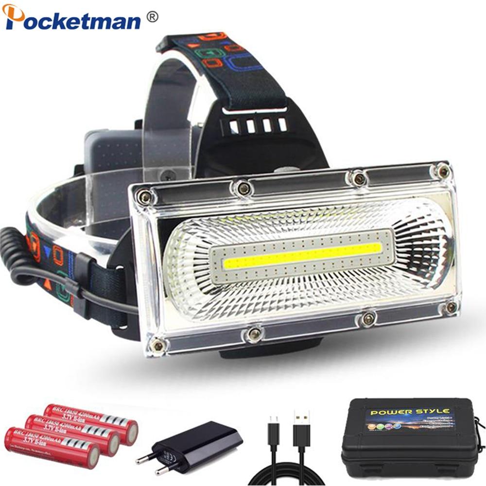 Новая Мощная COB светодиодная фара USB перезаряжаемая Налобная фара Водонепроницаемая налобный фонарь мощная головная лампа с батареей 18650